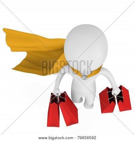 Brave Superhero Shopper With Yellow Cloak