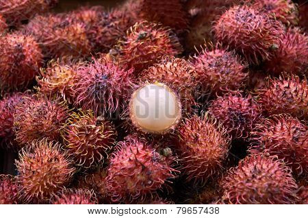 Exotic Fruit Rambutan Hairy With Hairy Skin