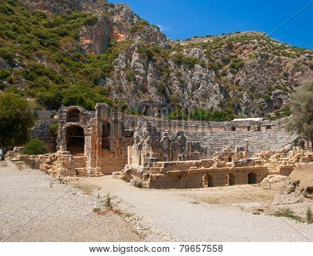 Ancient Amphitheater In Myra, Turkey
