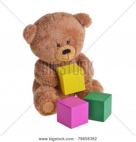 Bear with wooden cubes