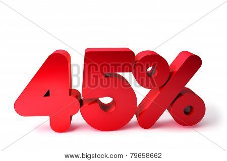45% 3D Render Red Word Isolated in White Background