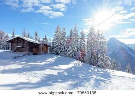 Ski hut in the snow