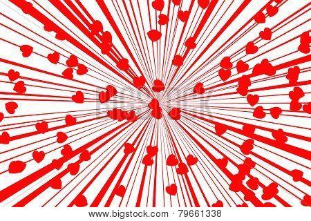 Red Retro Style Sunburst On White Background