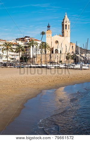 Beach and church in Sitges