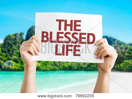 The Blessed Life card with a beach on background