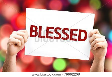 Blessed card with colorful background with defocused lights