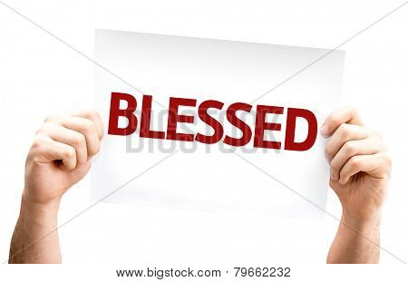 Blessed card isolated on white background