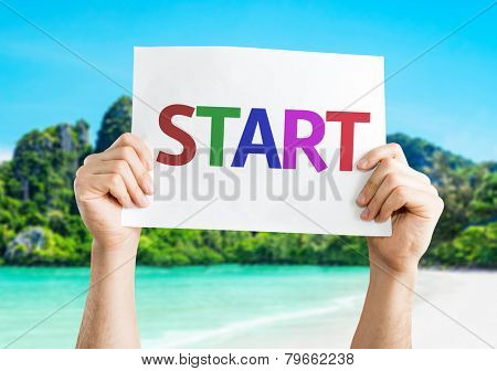 Start card with a beach on background