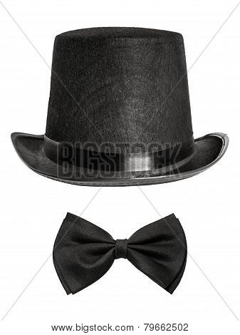 Black Felt Hat And Bow Tie Isolated On White Background. Front V