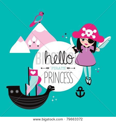 Cute little princess pirate and parrot fantasy land kids illustration background interior poster design in vector