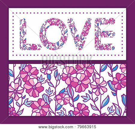Vector vibrant field flowers love text frame pattern invitation greeting card template