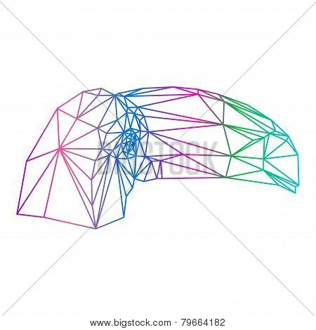 Polygonal Abstract Vector Gradient Colored Toucan Silhouette Drawn In One Continuous Line Isolated