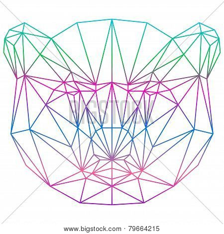 Polygonal Abstract Vector Gradient Colored Bear Silhouette Drawn In One Continuous Line Isolated
