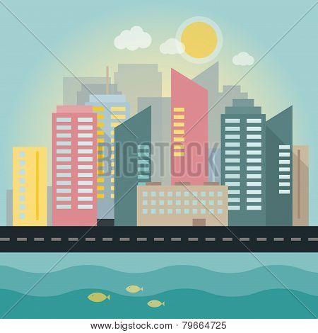 Flat Illustration Of A Modern City