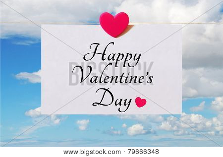 Valentine's Day card with sky background
