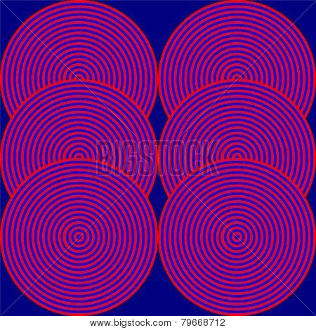 An hypnotic red and blue blur circles