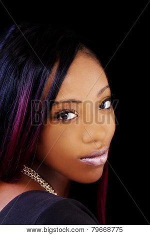Portrait Attractive African American Woman Over Shoulder
