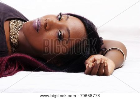 Reclining Portrait Attractive African American Woman