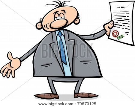 Man With Diploma Cartoon Illustration