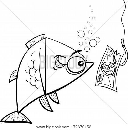 Fishing With Money Cartoon Illustration