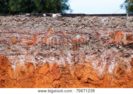 Layer of soil beneath the asphalt road