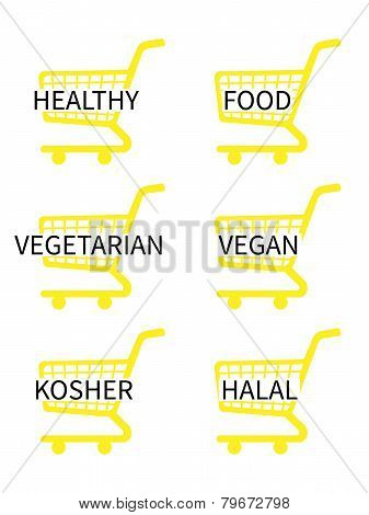 Yellow Shopping Cart Icons With Healthy Food Texts