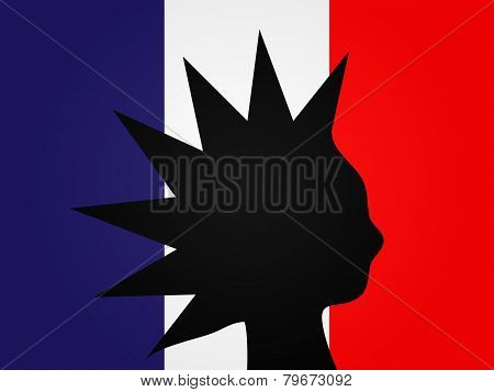 Punk Silhouette French Flag