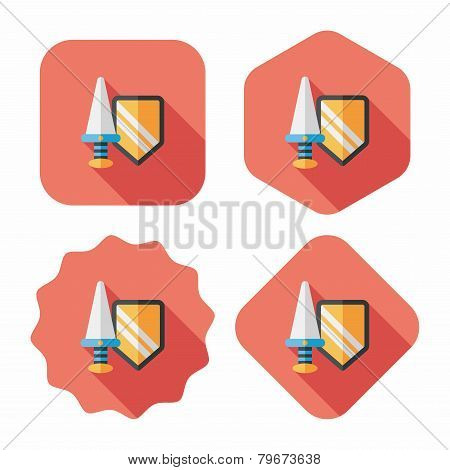 Sword And Shield Flat Icon With Long Shadow,eps 10