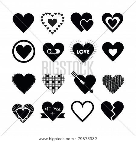 Assorted designs of black silhouette hearts icons set on white background