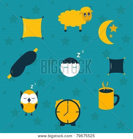 Vector illustration with sleep icons