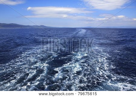 Trace of the ship in Aegean Sea.