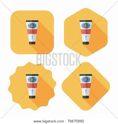 Sunscreen Flat Icon With Long Shadow,eps10