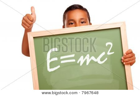 Proud Hispanic Boy Holding Chalkboard With Theory Of Relativity