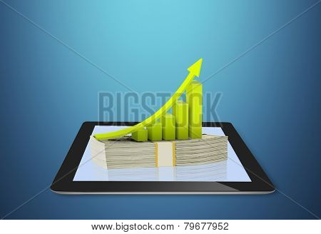 Tablet showing financial symbols coming, online