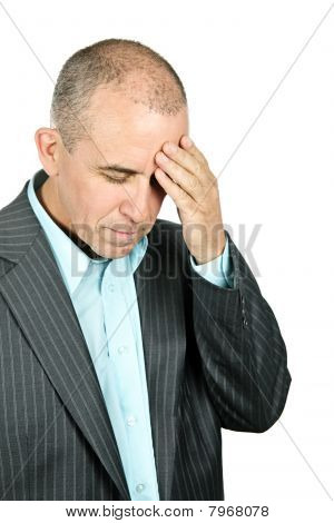 Depressed Man On White Background