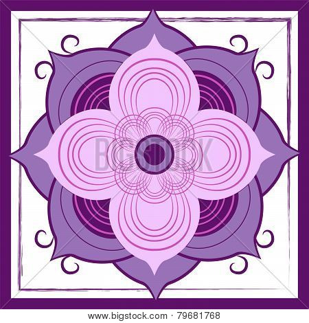 Abstract Purple Lotus Blossom Tile