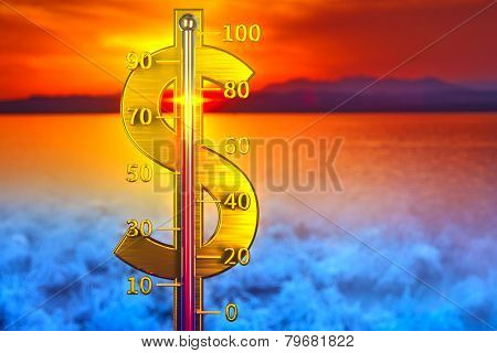 Dollar thermometer concept. Showing growth of dollar. Rising to high hot point.