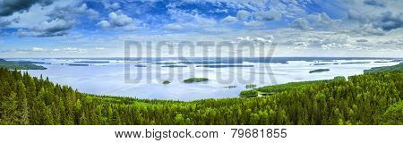 Pielinen lake in Finland summer panorama.