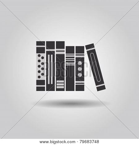 Organized hard copy books icon