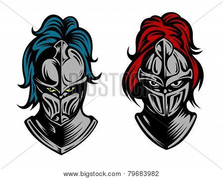Heads of two fierce men in medieval armour