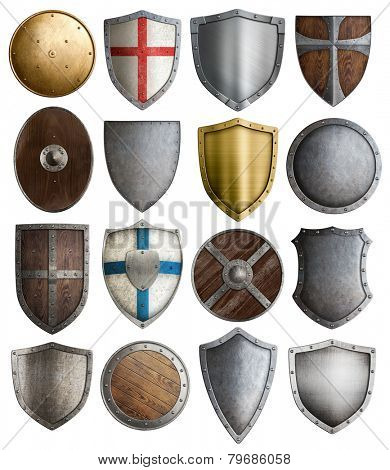 medieval armour and knight shields assortment