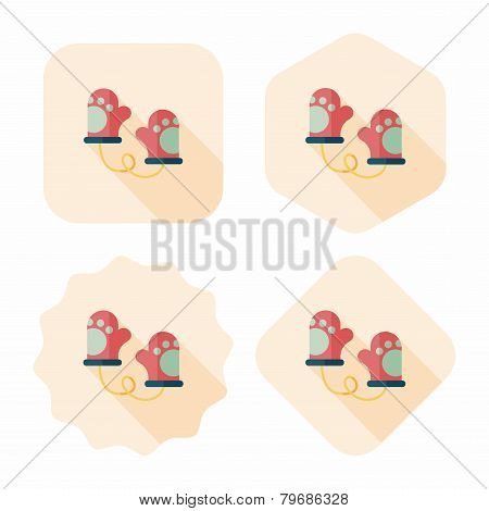 Baby Gloves Flat Icon With Long Shadow,eps10