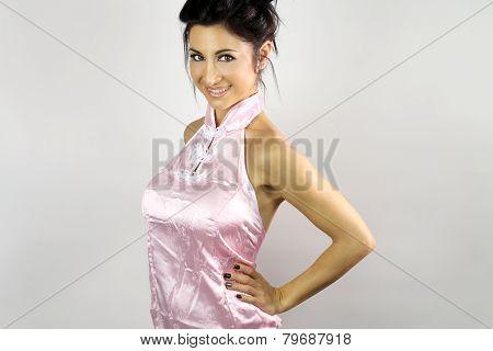 beautiful young geisha smiling