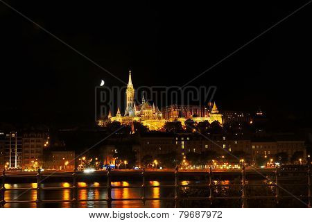 Buda Side Of Budapest With The Buda Castle, St. Matthias And Fishermen's Bastion By Night