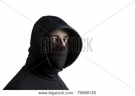 Black Dressed Hooded Man
