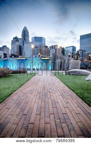 New Romare-bearden Park In Uptown Charlotte North Carolina Early Morning