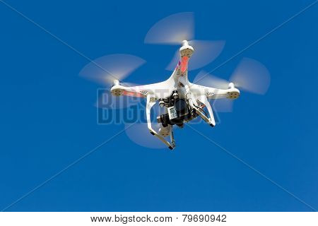 Dji Phantom Drone In Flight With A Mounted Gopro Hero3+ Black Edition Digital Camera In Athens, Gree
