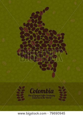 Colombia map made of roasted coffee beans. Vector illustration.