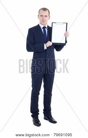Full Length Portrait Of Handsome Business Man In Suit With Blank Clipboard Isolated On White
