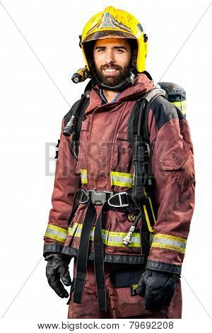 Fireman In Fire Fighting Gear.